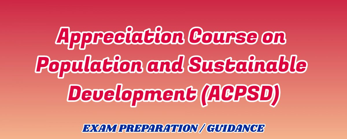 Appreciation Course on Population and Sustainable Development ignou detail