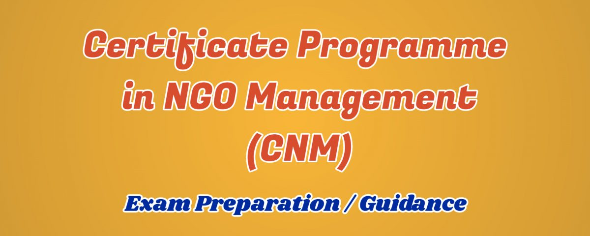 Certificate Programme in NGO Management ignou