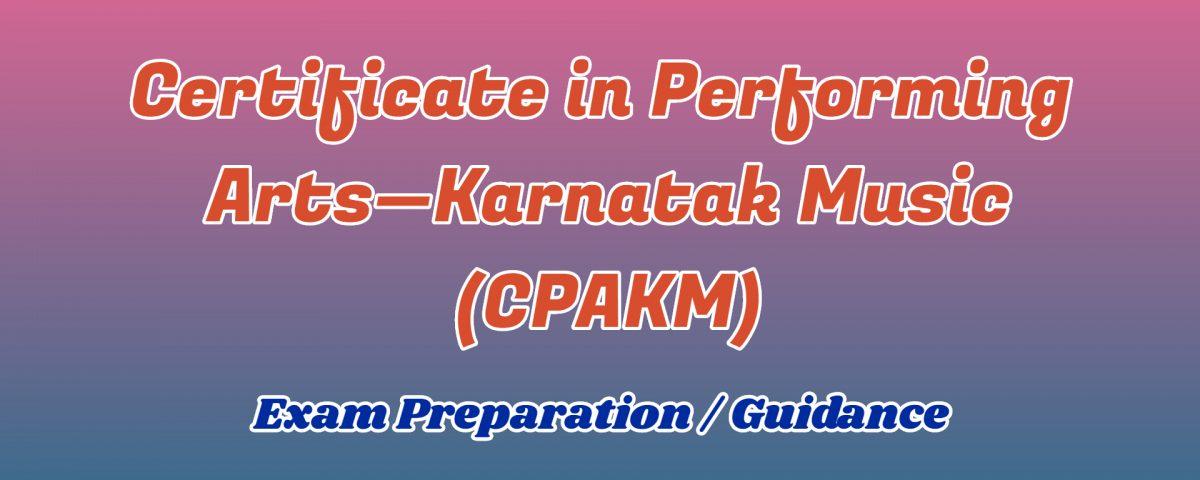 Certificate in Performing Arts Karnatak Music ignou