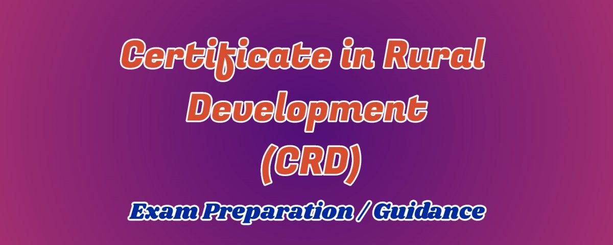 Certificate in Rural Development ignou