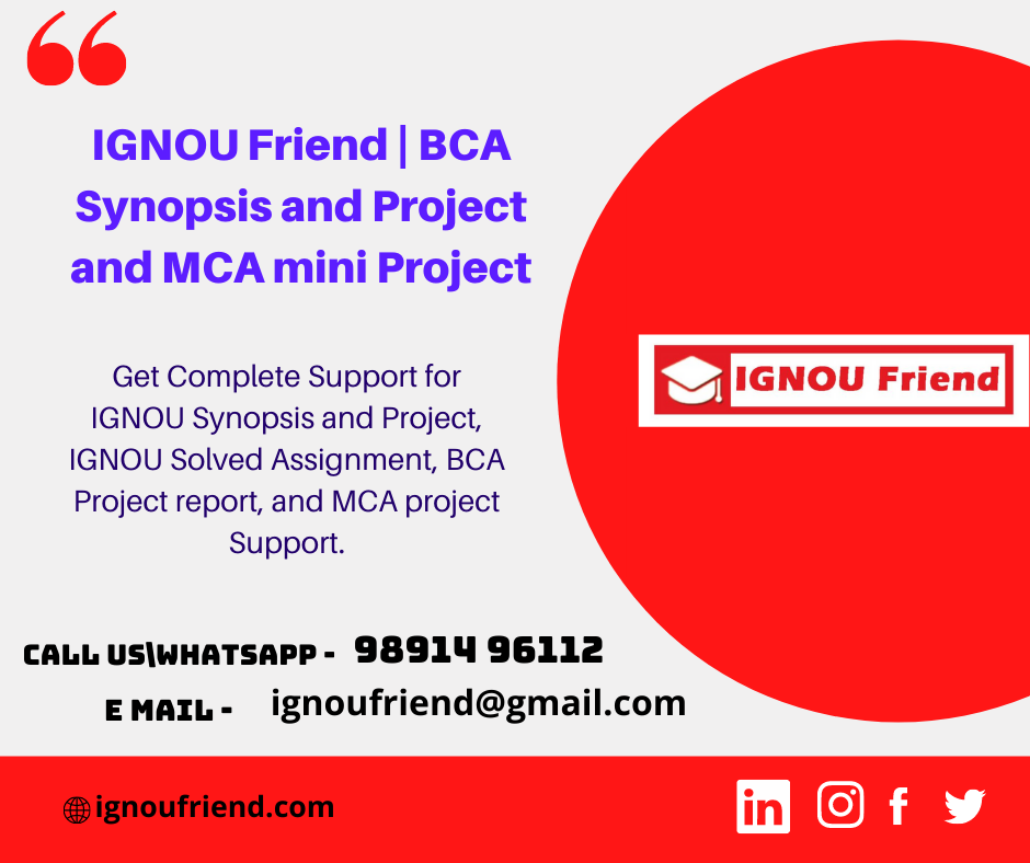 BCA and MCA Synopsis   IGNOU Friend