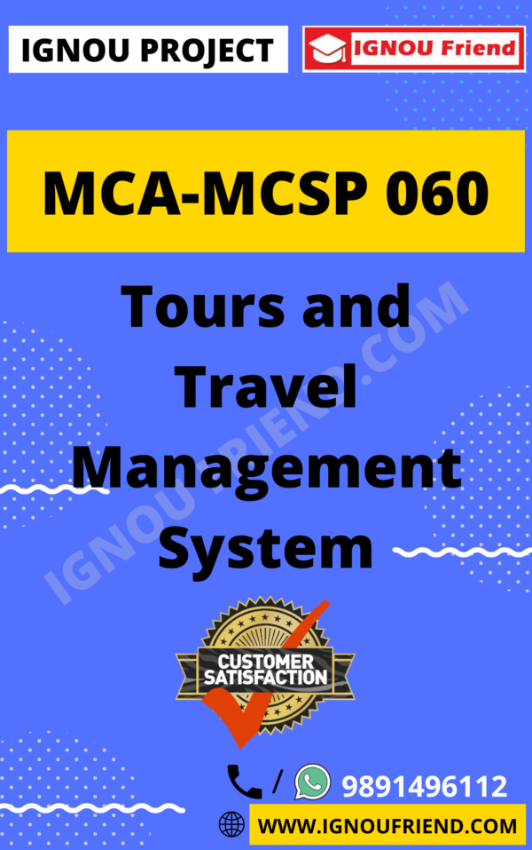 Ignou MCA MCSP-060 Synopsis Only, Topic- Tours and Travel Management System