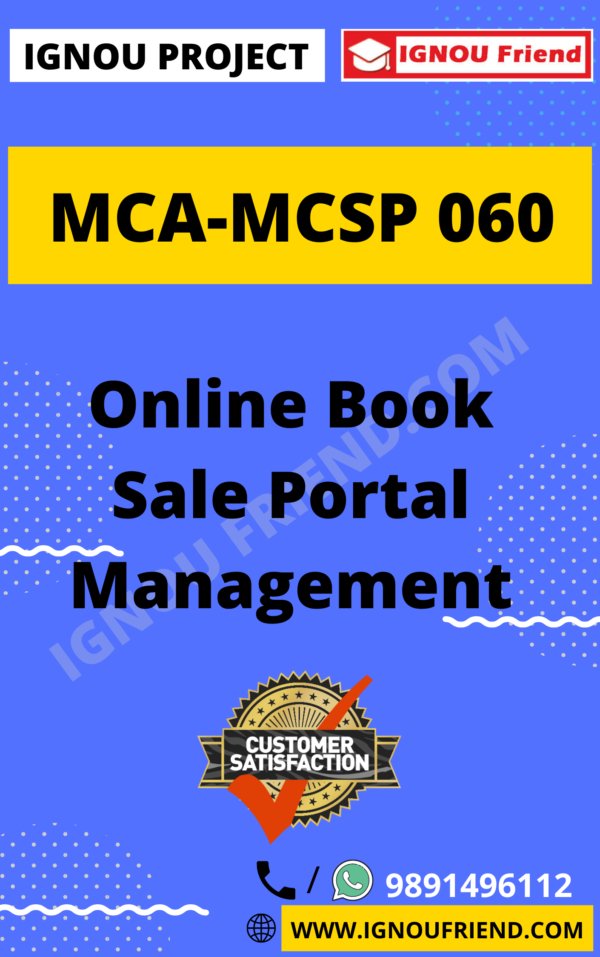Ignou MCA MCSP-060 Synopsis Only, Topic - Online Book Sale Portal Management System