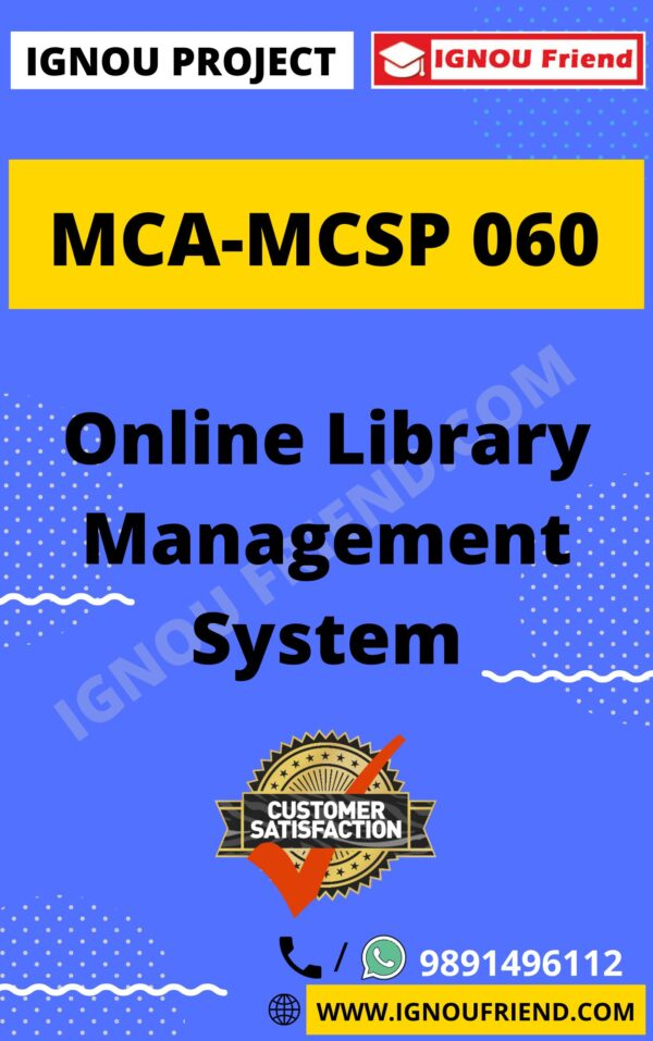 Ignou MCA MCSP-060 Synopsis Only, Topic - Online Library Management System
