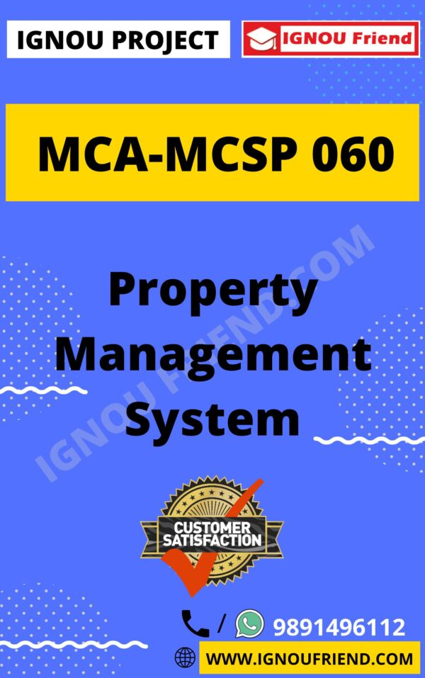 Ignou MCA MCSP-060 Synopsis Only, Topic- Property Management system