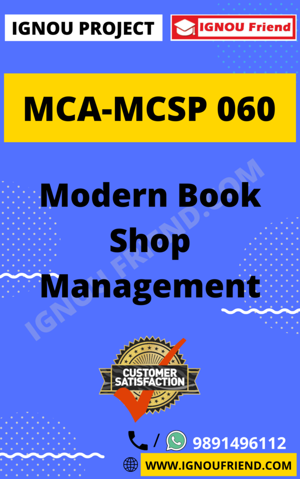Ignou MCA MCSP-060 Synopsis Only, Topic- Modern Book Shop Management