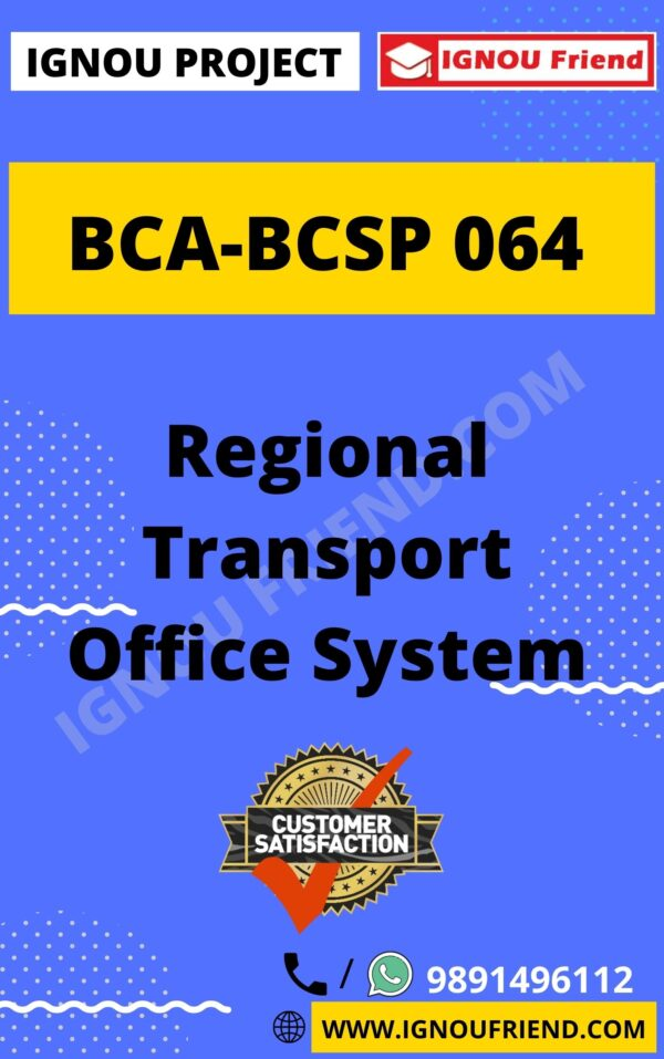 ignou-bca-bcsp064-synopsis-only- Regional Transport Office System