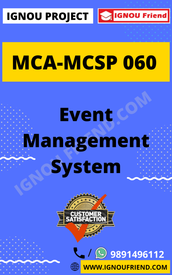 Ignou MCA MCSP-060 Synopsis Only, Topic - Event Management System