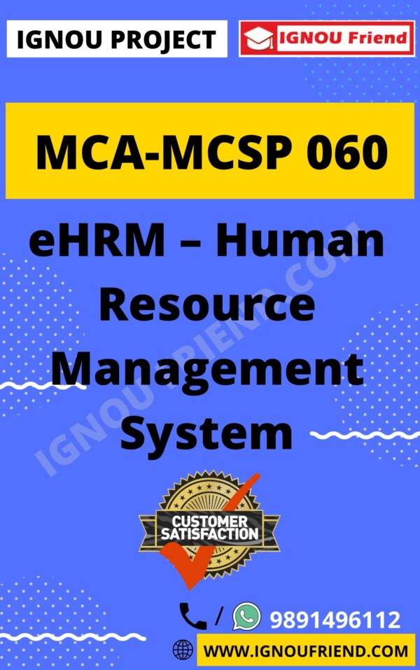 Ignou MCA MCSP-060 Synopsis Only, Topic- eHRM Human Resource Management System