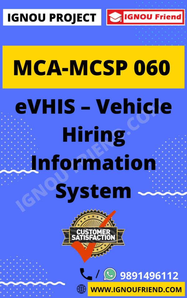 Ignou MCA MCSP-060 Synopsis Only, Topic - eVHIS - vehicle Information System