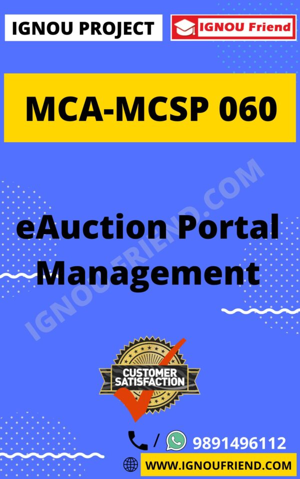 Ignou MCA MCSP-060 Synopsis Only, Topic - eAuction Portal Management System