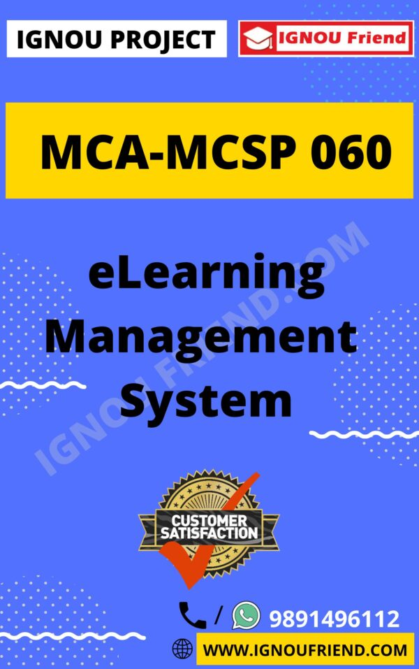 Ignou MCA MCSP-060 Synopsis Only, Topic- eLearning Management System