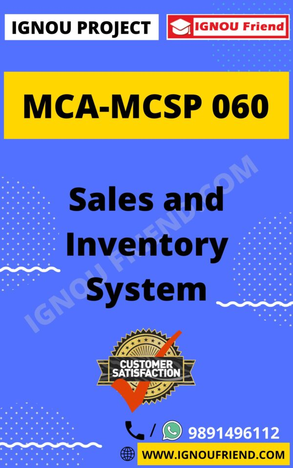 Ignou MCA MCSP-060 Synopsis Only, Topic - Sales and Inventory Management System