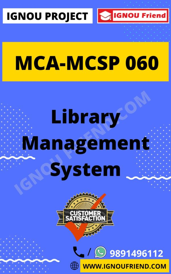Ignou MCA MCSP-060 Synopsis Only, Topic- Library Management system