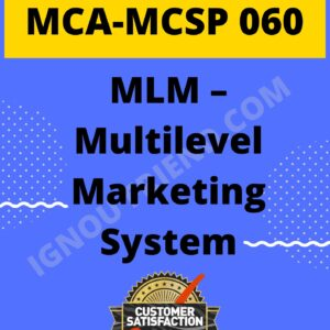 Ignou MCA MCSP-060 Synopsis Only, Topic - MLM-Multilevel Marketing System