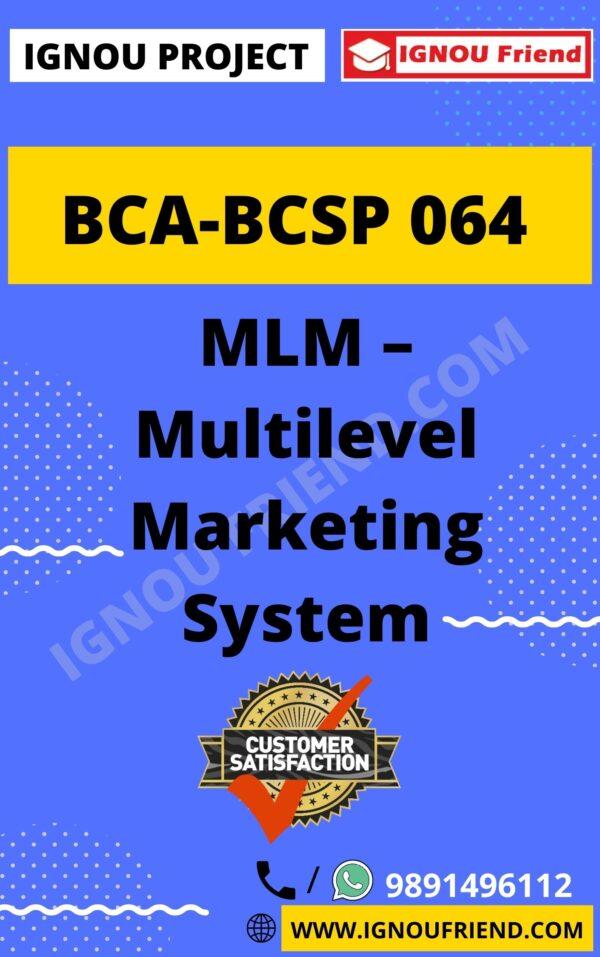 8-ignou-bca-bcsp064-synopsis-only-Multilevel Marketing System
