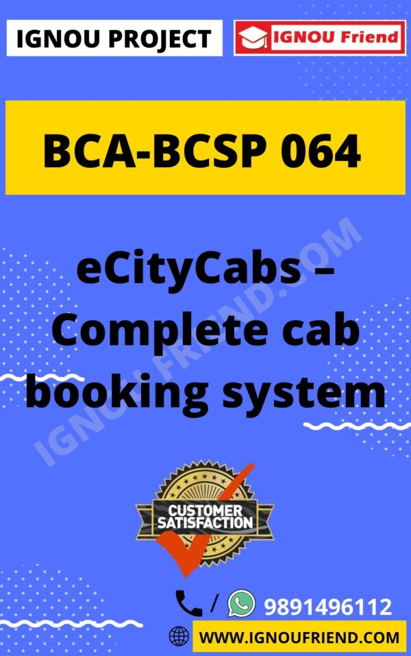 ignou-bca-bcsp064-synopsis-only- eCityCabs - Complete Cab Booking System