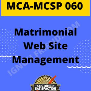 Ignou MCA MCSP-060 Complete Project, Topic - Matrimonial Website Management System