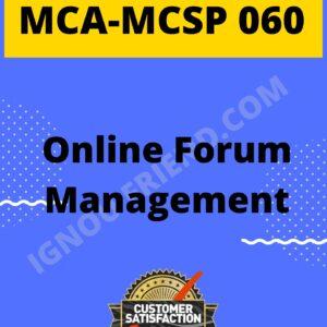 Ignou MCA MCSP-060 Complete Project, Topic - Online Forum Management System