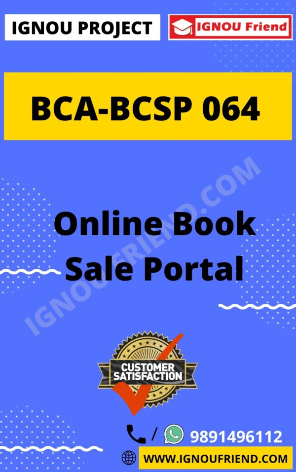 Ignou BCA BCSP-064 Complete Project, Topic - Online Book Sale Portal