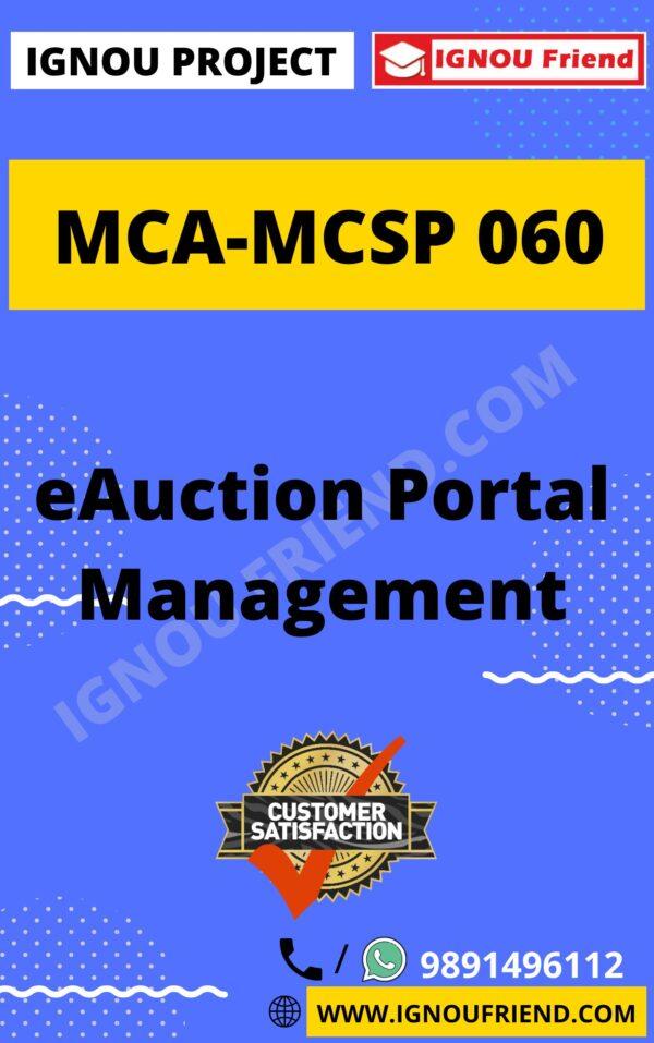 Ignou MCA MCSP-060 Complete Project, Topic - eAuction Portal Management System