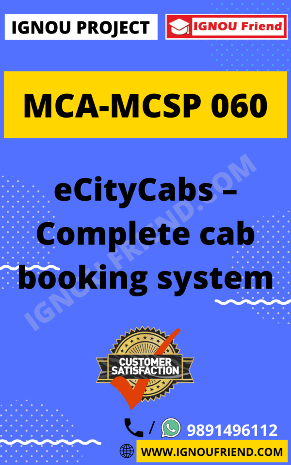 Ignou MCA MCSP-060 Complete Project, Topic - eCityCabs - Complete Cab Booking System